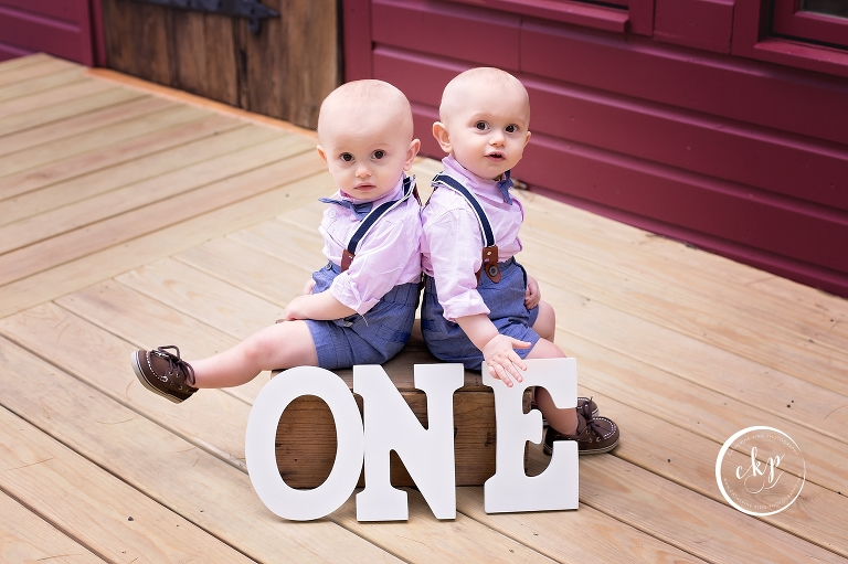 twin boys first birthday photography session at Chatfield Hollow in Killingworth CT
